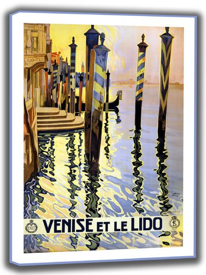 Venice, Italy. Vintage Travel Canvas. Sizes: A4/A3/A2/A1 (002706)